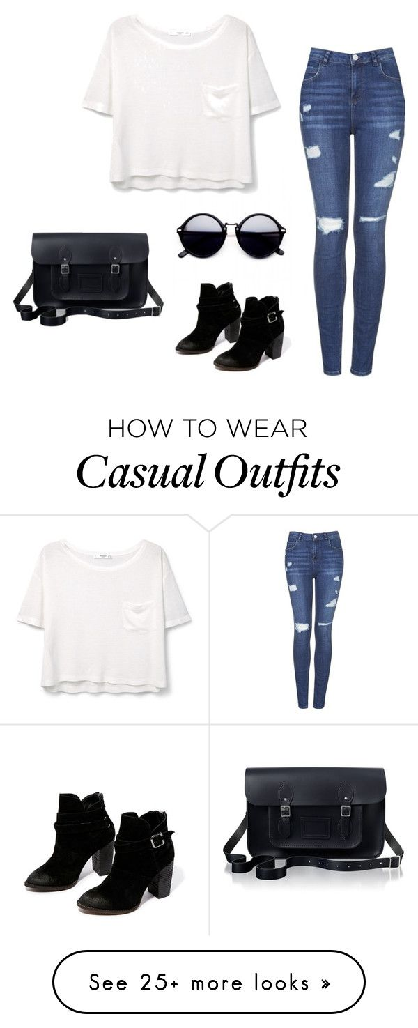 """""""Casual Outfit"""" by mnpe on Polyvore featuring Chinese Laundry, MANGO, Topshop and The Cambridge Satchel Company"""