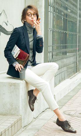 white jeans bridging the seasonal weather gap...