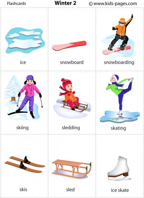 Winter http://www.kids-pages.com/folders/flashcards/Winter_2/winter2.pdf