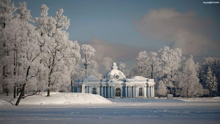 Zima, Drzewa, Dworek, Śnieg