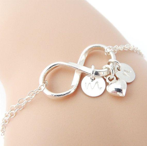 Infinity Bracelet Personalized Bracelet + Silver Heart Charm, Wedding Jewelry Bracelet, Mothers Bracelet, Bridal Bracelet, Initial Bracelet