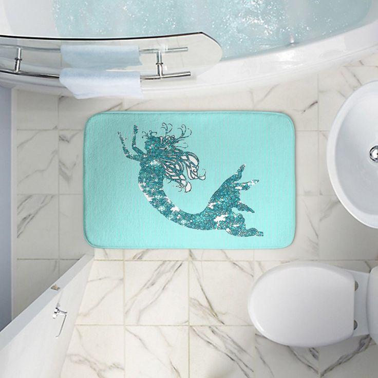 Unique Bath Rugs And Mats From DiaNoche Designs | Susie Kunzelman   Mermaid  II Aqua |