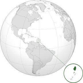 Amplasarea insulelor Sfântul Vicențiu și Grenadinele