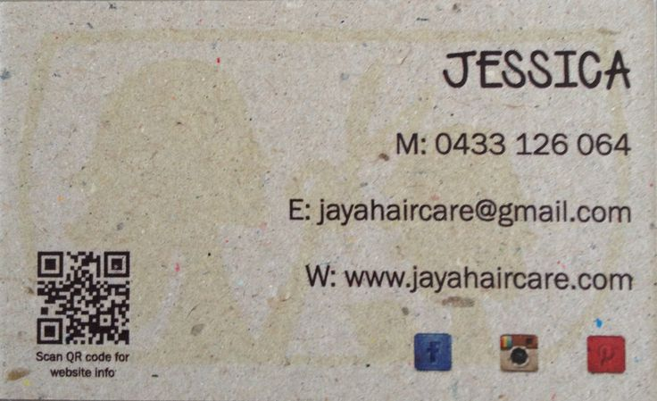 Jaya Haircare new business card (back)