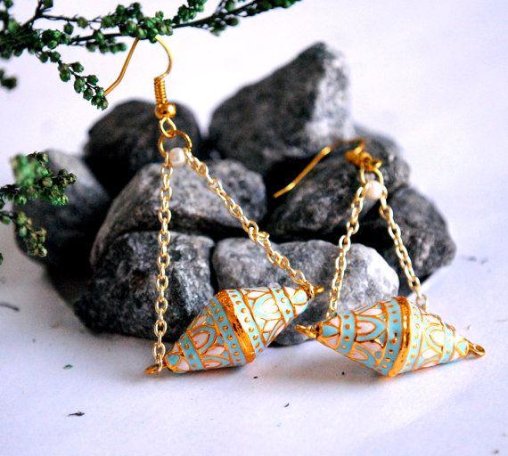 Bi-cone Swing Earrings. Turquoise White Enamel Dangle Earrings. Double Cone on chain. French hook. Boho-Indian Jewelry