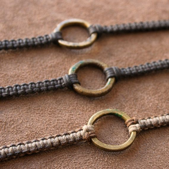 Earthy Macrame Bracelet with Antique African Brass Ring Adjustable Woven Linen