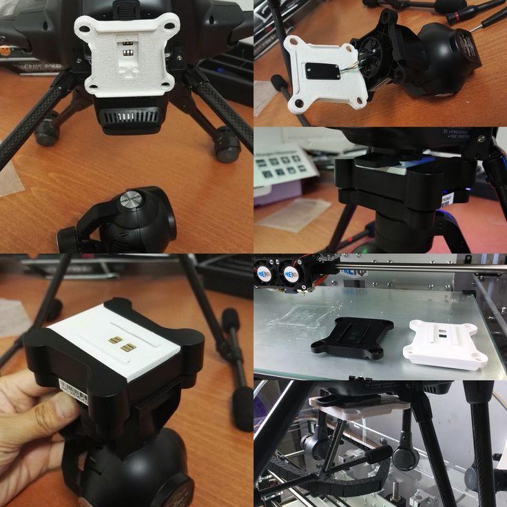 Varaosa, kamerapidike Yuneec Typhoon H hexa kopteriin. 3D-mallinnus tehty Rhinolla ja 3D-tulostus Prentalla.