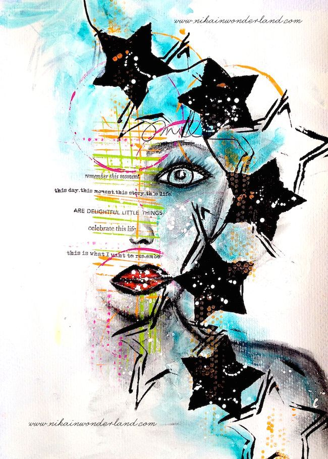 MIXED MEDIA FACE TUTORIAL DYLUSIONS PAINT – Nika in Wonderland