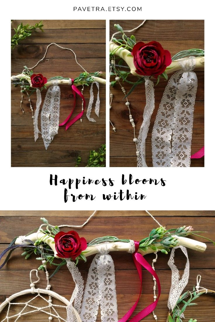Branch wall decor for romantic bedroom floral burgundy
