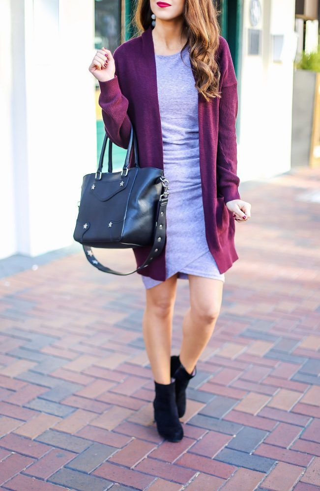 Body Con Dress with a Cardigan for Fall. Fall Dresses. Fall Dress with Cardigan. Fall Dress and Booties. Nordstrom Dress.