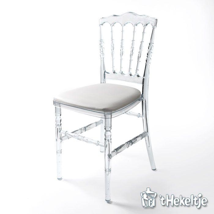 Transparante stoel Napoleon met witte zitting breed 40cm.