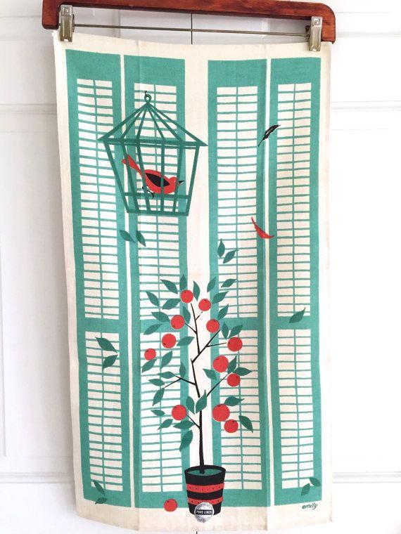 Tea Towel MID CENTURY Bird Cage Orange Tree Wall by NeatoKeen