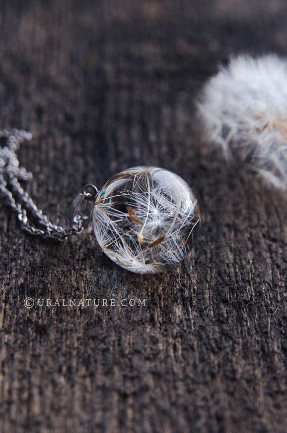 Dandelion necklace ⇷18mm⇸ Real Dandelion jewelry | Make a wish necklace Dandelion seeds jewelry dandelion wish pendant handmade resin jewel