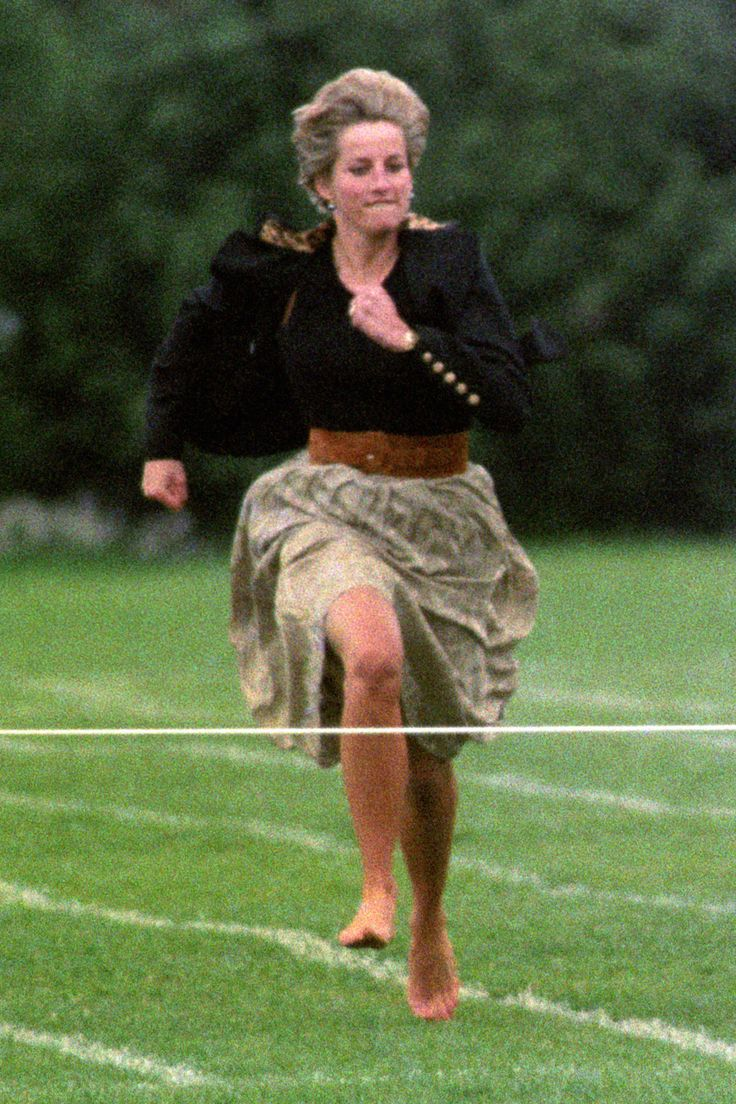 JUNE 1991 - Princess Diana took part in the Mothers' race at the Wetherby School sports day.