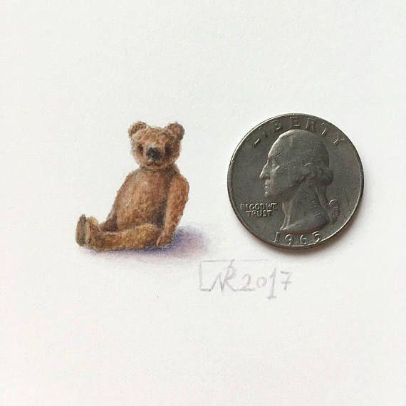 Tiny Teddy Bear original watercolour miniature. Teddy Bear