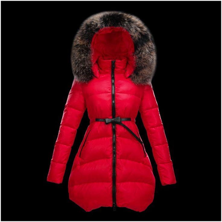 Soldes moncler manteau femme doudoune fourrure rouge en soldes