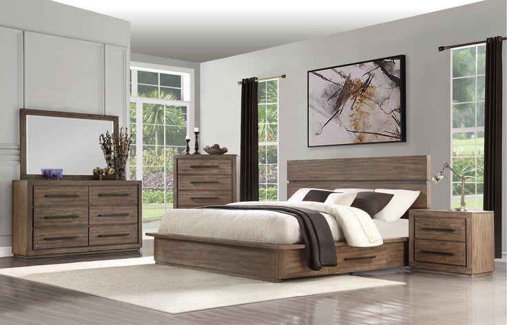 modern rustic pine 4 piece queen bedroom set  haven