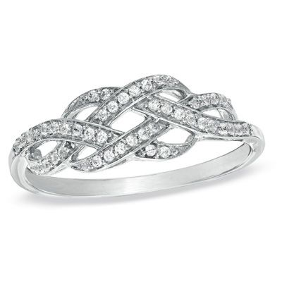 1/5 CT. T.W. Diamond Infinity Knot Ring in Sterling Silver - Zales