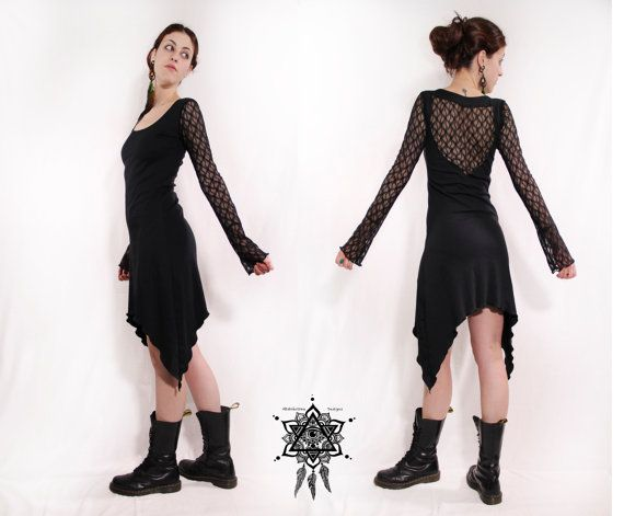 Bohemian lace dress. Crochet dress. goth dress. Gothic clothing. Pixie, steampunk lace dress. Backless lace dress, little dress. faery dress