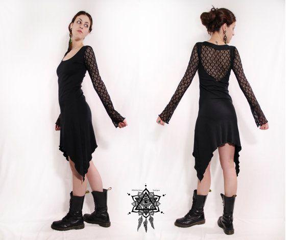 Bohemian lace dress. Crochet dress. goth dress. Gothic clothing. Pixie, steampunk lace dress. Backless lace dress, little dress. faery dress