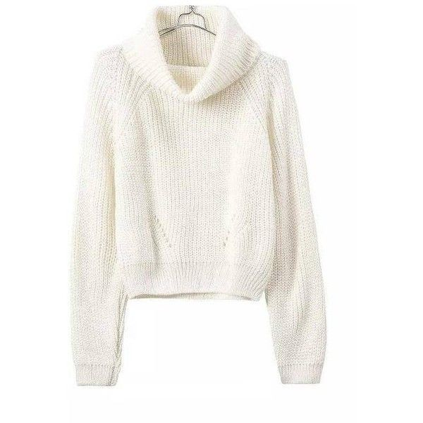 Yoins Yoins White High Roll Neck Chunky Knit Sweater ($26) ❤ liked on Polyvore featuring tops, sweaters, yoins, shirts & tops, white, rollneck sweater, white top, thick knit sweater, white shirt and white sweater