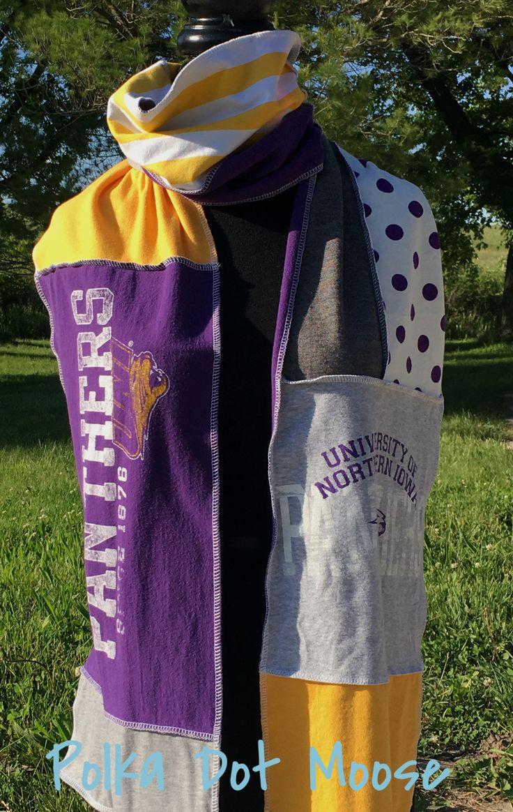 UNI ~ University of Northern Iowa Panthers upcycled t-shirt scarf   Etsy.com/shop/ThePolkaDotMoose