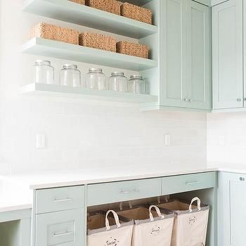 Laundry Room Stacked Floating Shelves, Transitional, Laundry Room