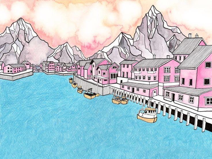 Image of Henningsvær Art Print 30 x 40 cm FREE SHIPPING