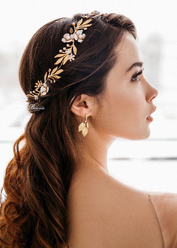 dainty flower crown minimalist silver wedding crown bridal flower crown white flower crown wedding hair vine Dainty hair vine wedding