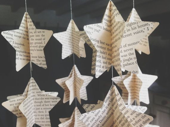 Choose Your Book Vintage Novel - Map - Music -Traditional Paper Mobile -Star…