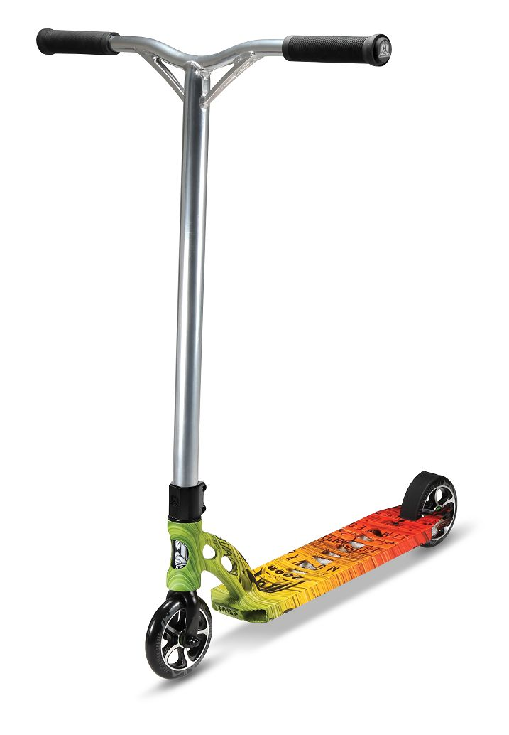 """VX6 Extreme line from Madd Gear (MGP) Action Sports! The only thing not scary is the price! Now featuring the Outlaw, the Crow and the Tie Dye! • Deck: MGP 4.5"""" VX6 6061 T4 & T6 Heat Treated & Fluted"""