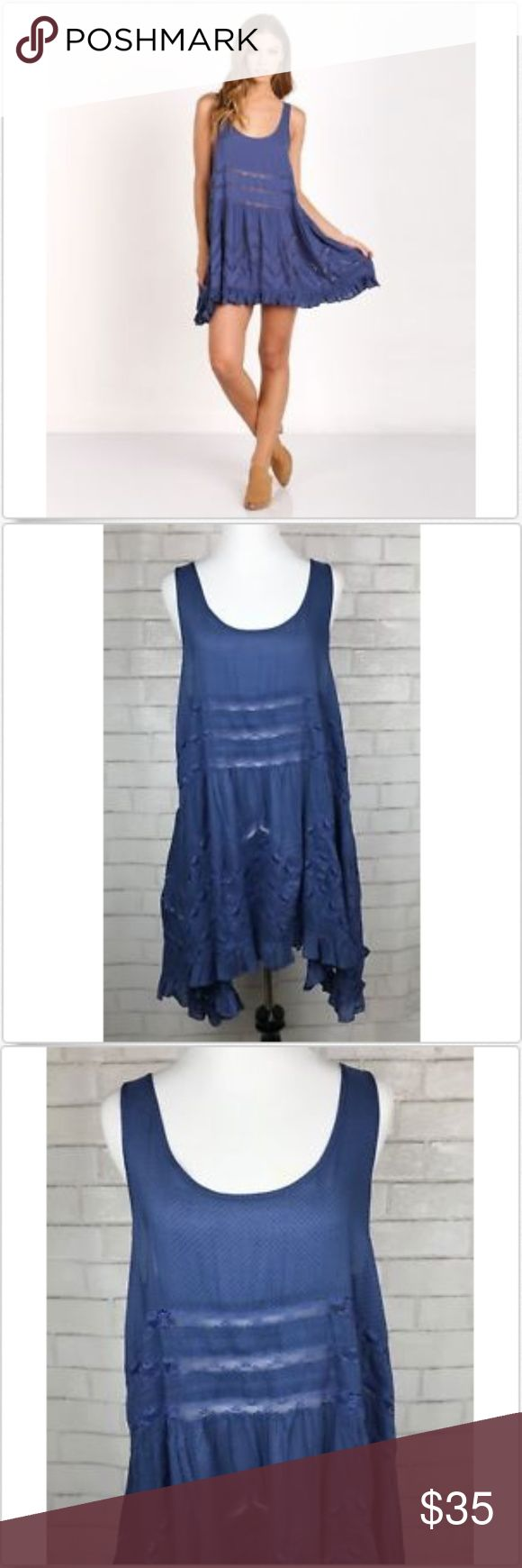 "NEW Free People Voile Lace Trapeze Waterfall Slip NWT Free People Blue Voile and Lace Trapeze Waterfall Slip Mini Dress Top size M  Measurements:   Armpit to Armpit: 18"" Length: 35""  (Picture owned by Free People) Free People Dresses Mini"