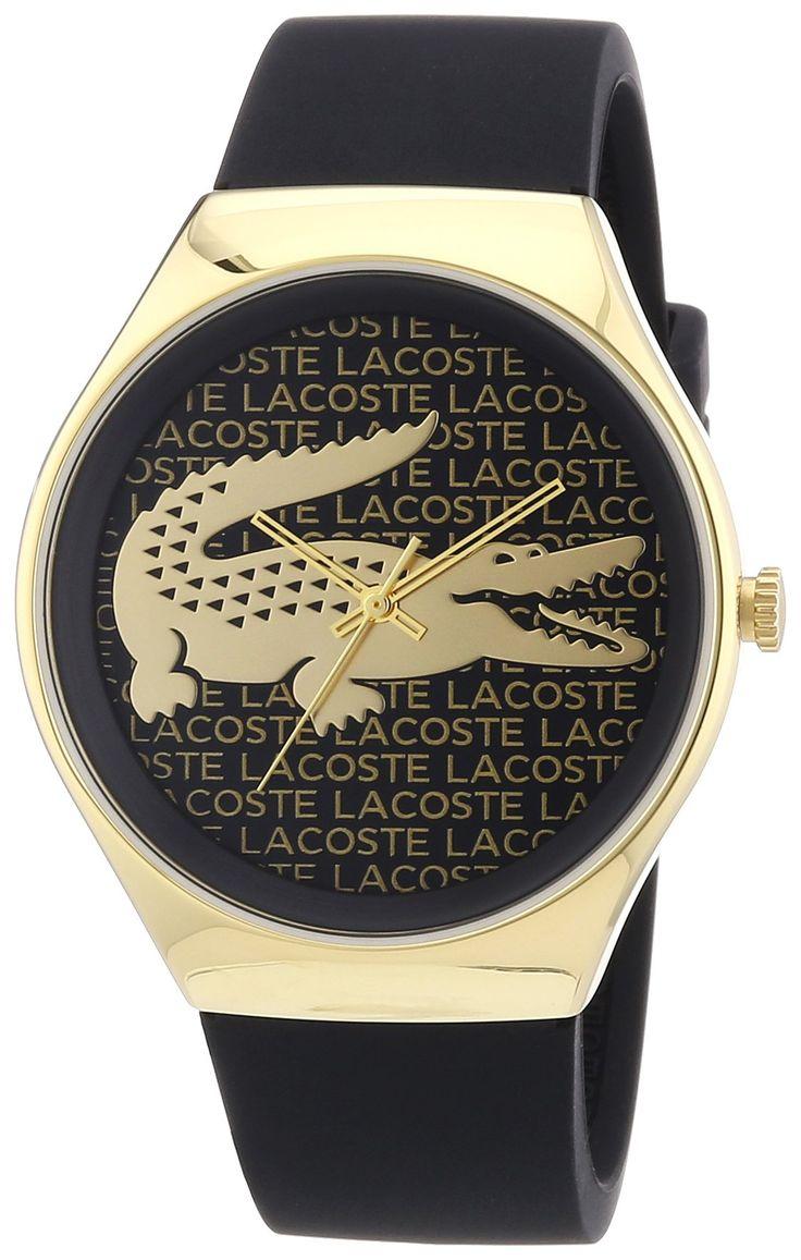 Lacoste - 2000808 - Montre Femme - Quartz Analogique - Cadran Doré - Bracelet Silicone Noir