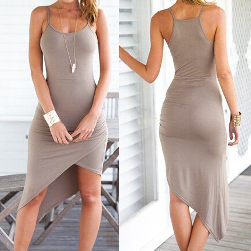 Sexy Spaghetti Strap Asymmetrical Solid Color Dress For Women