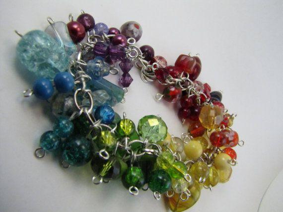 Rainbow Beadburst Bracelet by BranchingHope on Etsy