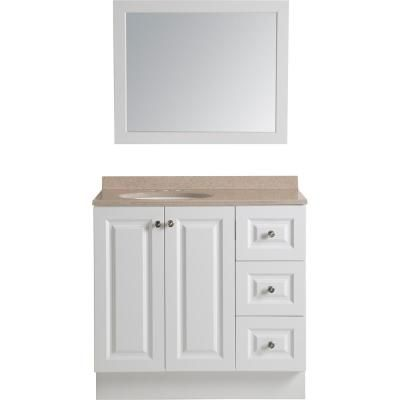 Glacier Bay Bannister 36.5 in. W Vanity in White with Colorpoint Vanity Top in Cappuccino with White Basin and Wall Mirror-BAN36P3-WH - The Home Depot