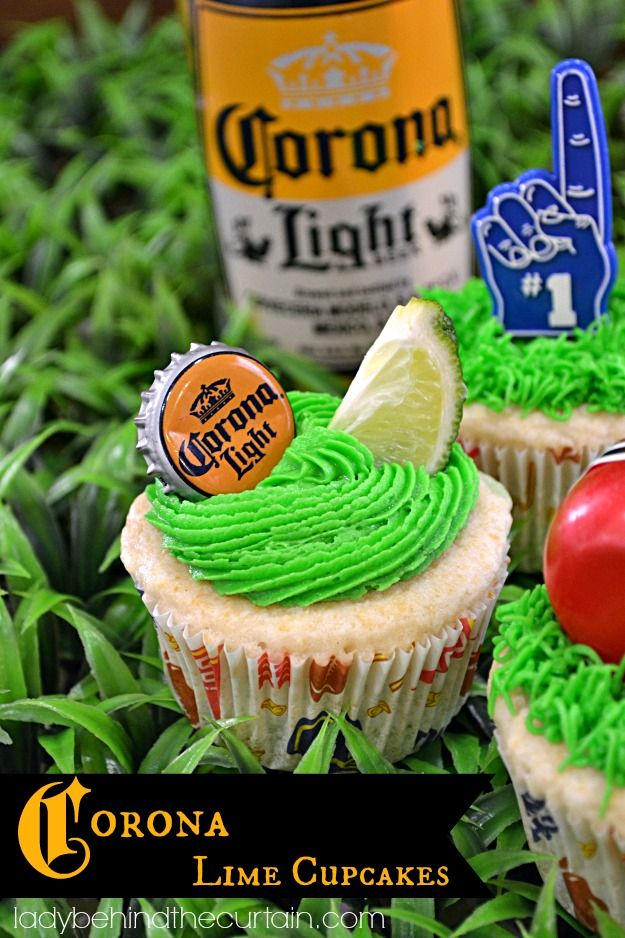 Corona Lime Cupcakes  The guys love drinking beer while watching a game.  Why not add the beer to their dessert too?  These Corona Lime Cupcakes have just a hint of beer flavor with a little lime.