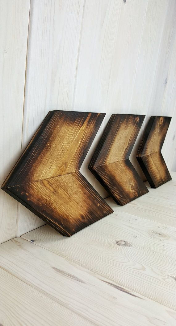 Arrow Wood Chevron Wall decor - Rustic Woodburned Light Finish