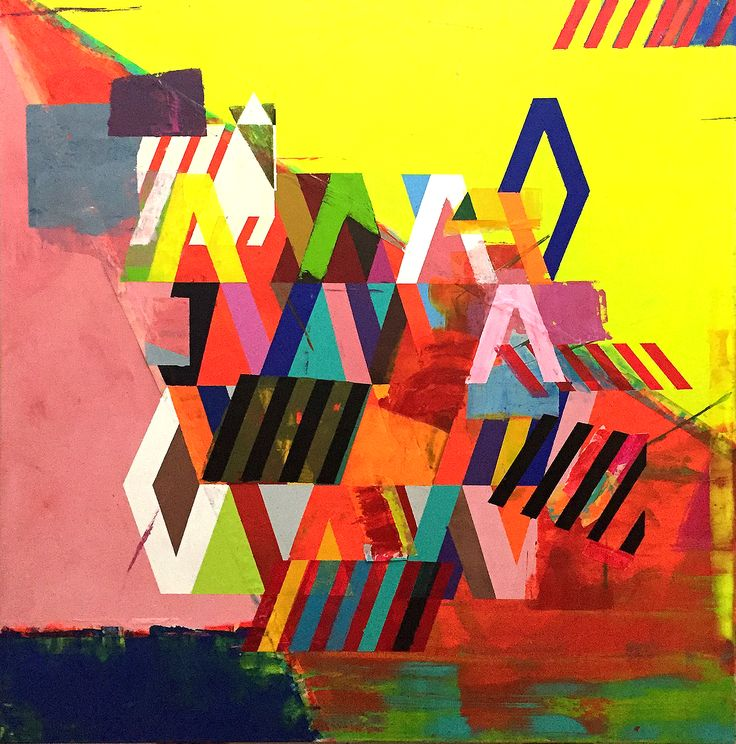 "Abstract & geometric painting by Liesbeth Willaert. ""A Land I've Never Been To"". More info on www.liesbethwillaert.be"