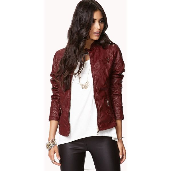 Forever 21 Women's  Buckled Collar Bomber Jacket ($30) ❤ liked on Polyvore featuring outerwear, jackets, outfits, models, zipper jacket, stand up collar jacket, bomber jackets, zip bomber jacket and collar jacket