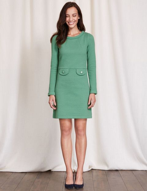 Boden Sixties-style Green Jacquard Dress with pockets