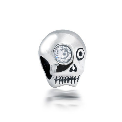 Bling Jewelry 925 Sterling Silver Skull CZ Eye Bead Pandora Compatible Bling Jewelry. $14.99. Clear Cubic Zirconia stone. Skull Bead. Halloween Bead. .925 Sterling Silver. Compatible with Pandora, Biagi, Chamilia and Troll beads