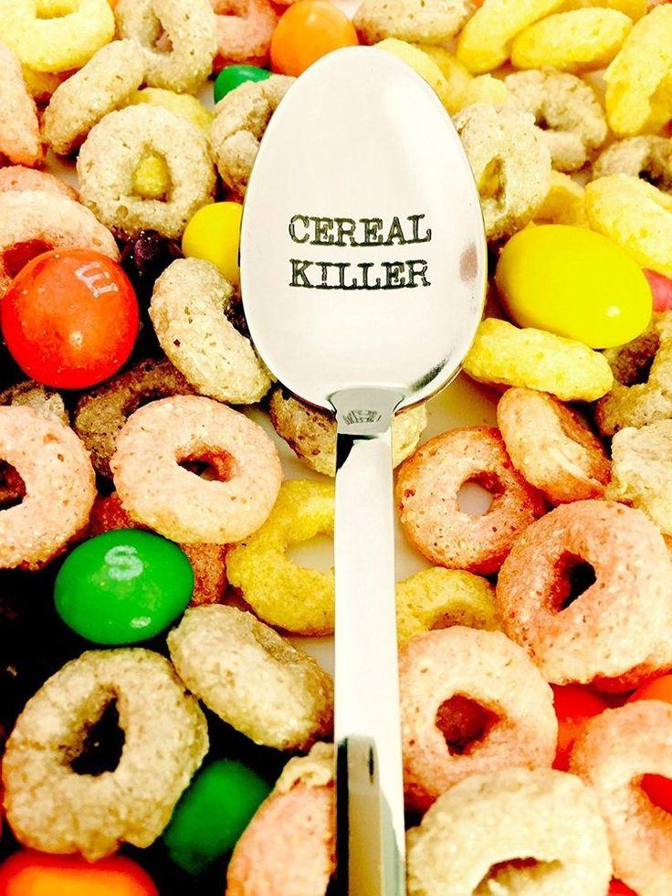 Cereal Killer Engraved Spoon Breakfast Kitchen Cutlery Gift Stainless Steel Bowl #Weenca