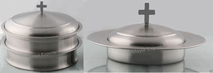 Communion ware-2 Communion Trays with Lid & 1 Bread Plate with Lid- Matte Finish
