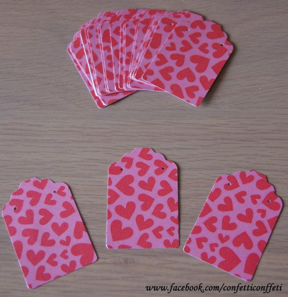 24 x Jewellery Tags Cards  Pink & Red Heart by ConfettiConffeti, $3.20