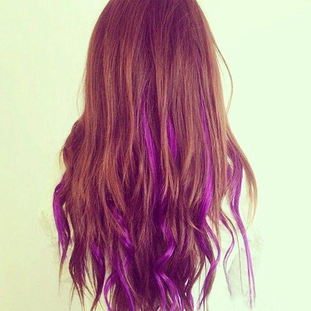 Red Hair With Purple Highlights Hair Highlights Purple Brown Hair Dip Dye Hair