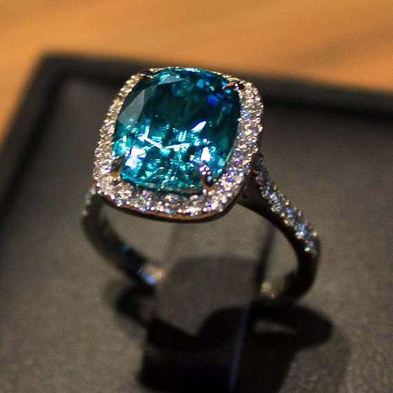 7.5ct Blue Zircon Cushion Cut Ring with Pave Diamond Halo by AdamGrahamDesignerJeweller, $7000.00