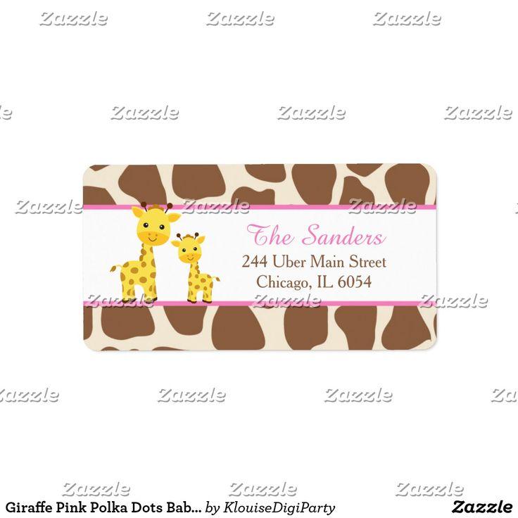 Giraffe Pink Polka Dots Baby Shower Label