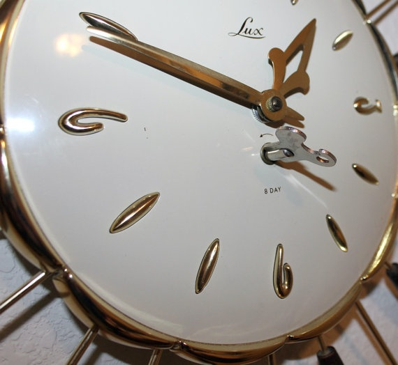 Vintage Lux Wall Clock Starburst Cat Tail Mid Century Mod