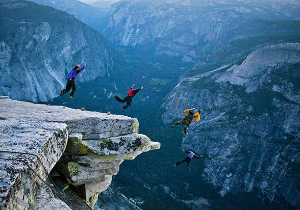 BASE jumping off Half Dome
